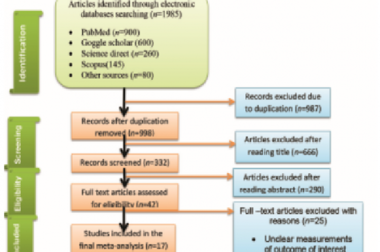 Figure 1: PRISMA flow diagram for study selection for systematic review and meta-analysis of prevalence onchocerciasis in sub-Saharan Africa, 2021 (n=17)