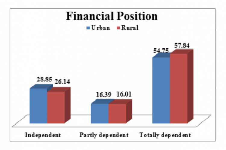 Shows, that 29% in urban and 26% in rural were financial independent.